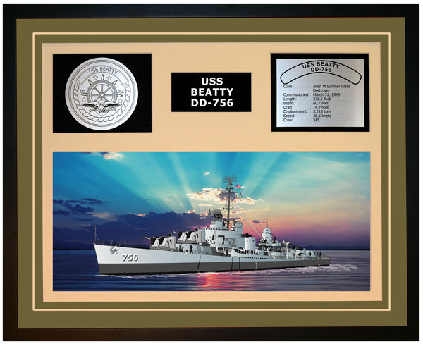 USS BEATTY DD-756 Framed Navy Ship Display Green