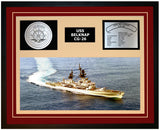 USS BELKNAP CG-26 Framed Navy Ship Display Burgundy