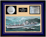 USS BELLATRIX AF-62 Framed Navy Ship Display Blue