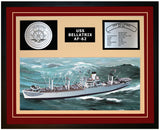USS BELLATRIX AF-62 Framed Navy Ship Display Burgundy