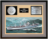 USS BELLATRIX AF-62 Framed Navy Ship Display Grey