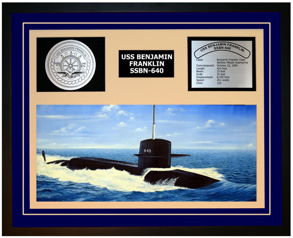 USS BENJAMIN FRANKLIN SSBN-640 Framed Navy Ship Display Blue