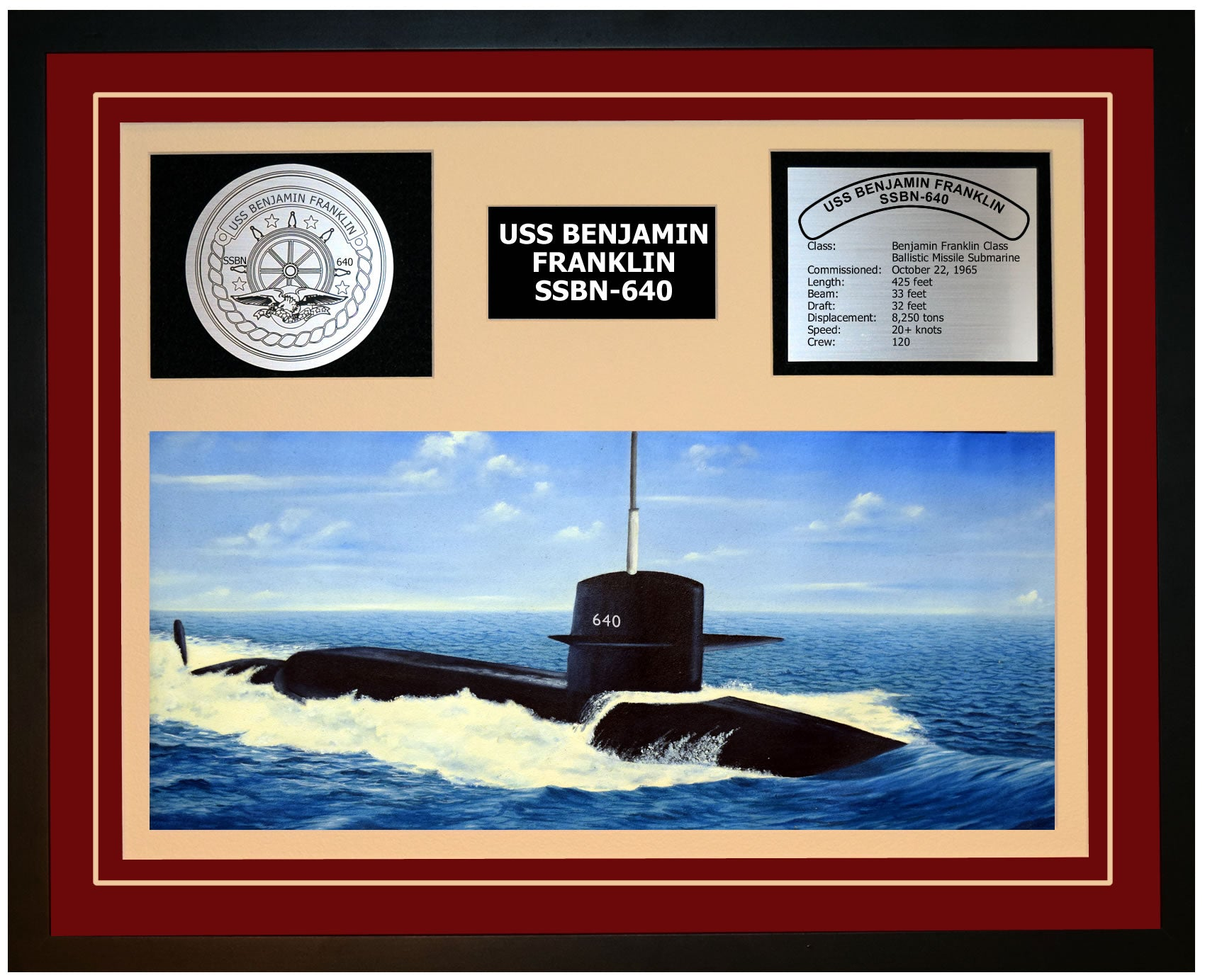 USS BENJAMIN FRANKLIN SSBN-640 Framed Navy Ship Display Burgundy