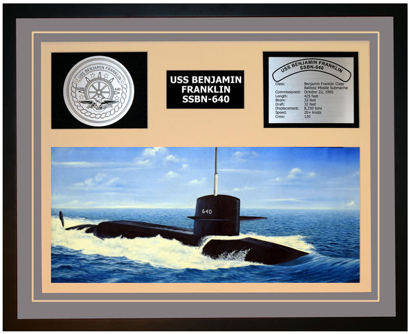 USS BENJAMIN FRANKLIN SSBN-640 Framed Navy Ship Display Grey