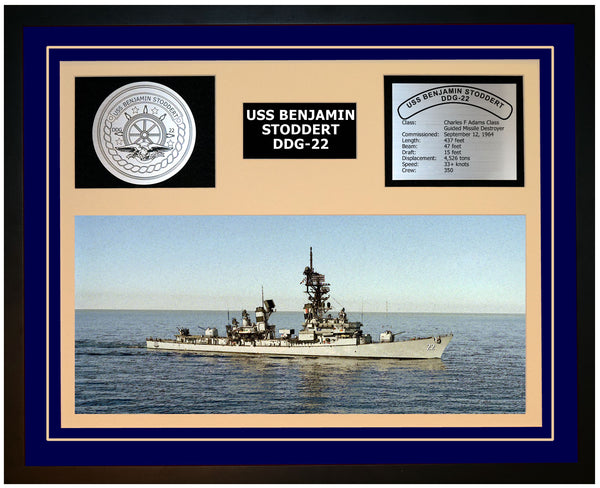 USS BENJAMIN STODDERT DDG-22 Framed Navy Ship Display Blue