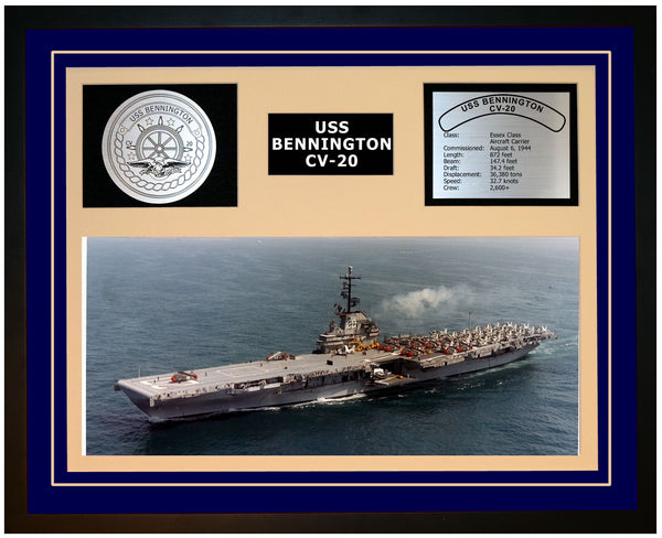 USS BENNINGTON CV-20 Framed Navy Ship Display Blue