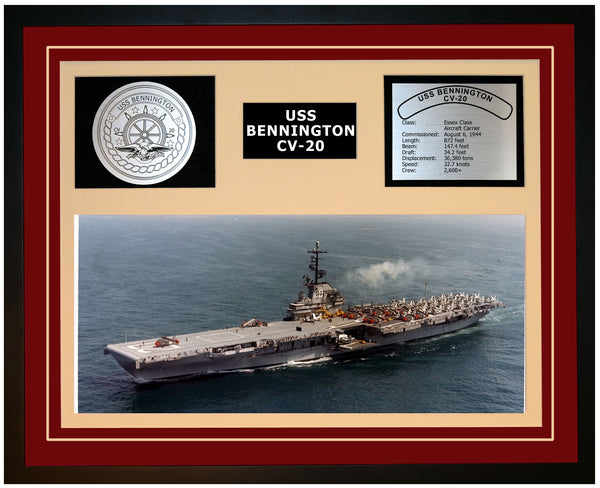 USS BENNINGTON CV-20 Framed Navy Ship Display Burgundy