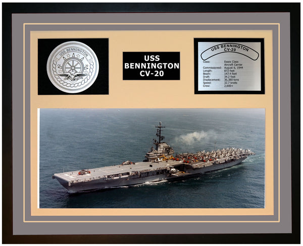 USS BENNINGTON CV-20 Framed Navy Ship Display Grey
