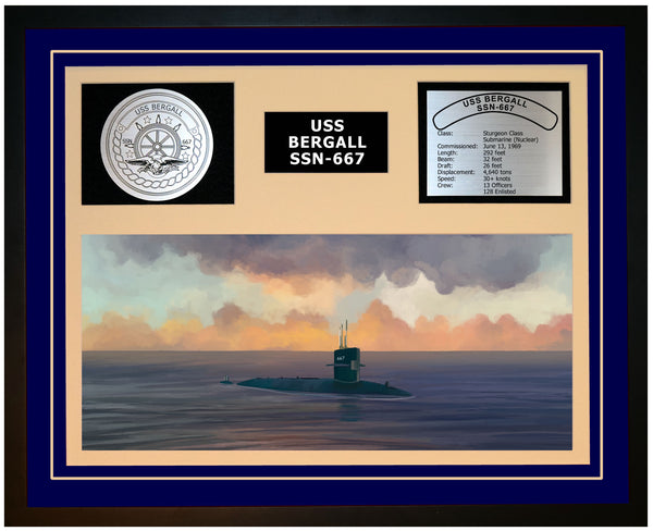 USS BERGALL SSN-667 Framed Navy Ship Display Blue