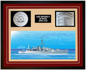 USS BEVERLY W REID APD-119 Framed Navy Ship Display Burgundy