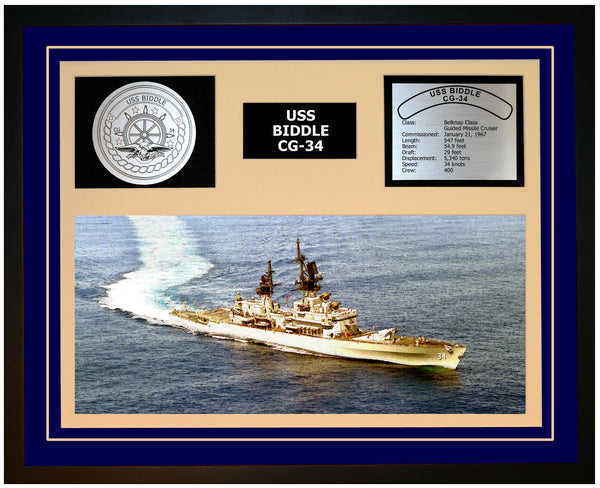 USS BIDDLE CG-34 Framed Navy Ship Display Blue