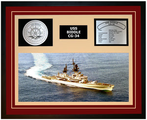 USS BIDDLE CG-34 Framed Navy Ship Display Burgundy