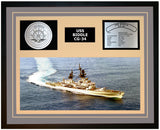 USS BIDDLE CG-34 Framed Navy Ship Display Grey