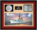 USS BLANDY DD-943 Framed Navy Ship Display Burgundy