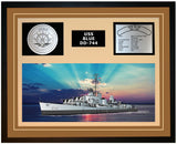 USS BLUE DD-744 Framed Navy Ship Display Brown