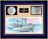 USS BLUE RIDGE AGC-2 Framed Navy Ship Display Blue