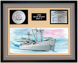 USS BLUE RIDGE AGC-2 Framed Navy Ship Display Grey