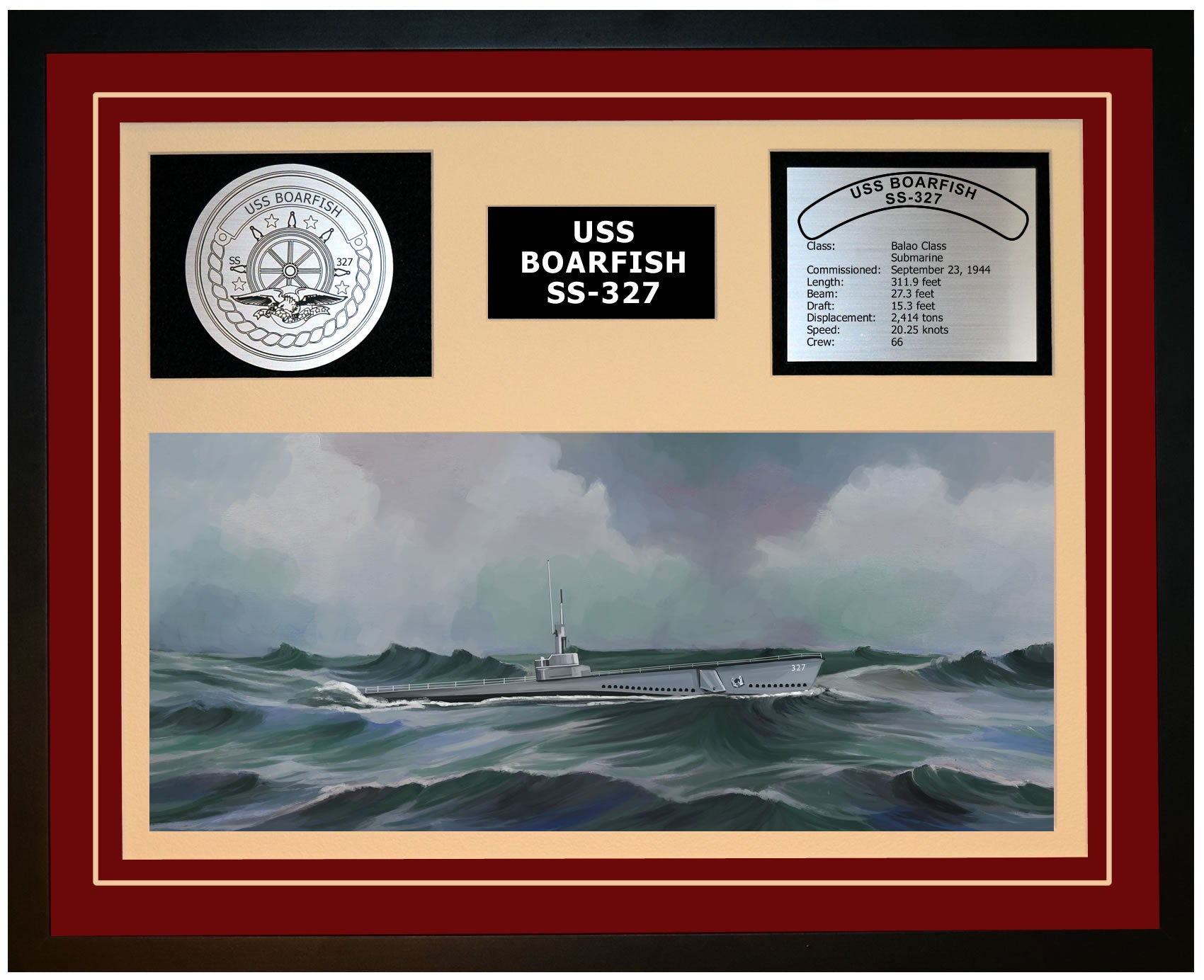 USS BOARFISH SS-327 Framed Navy Ship Display Burgundy