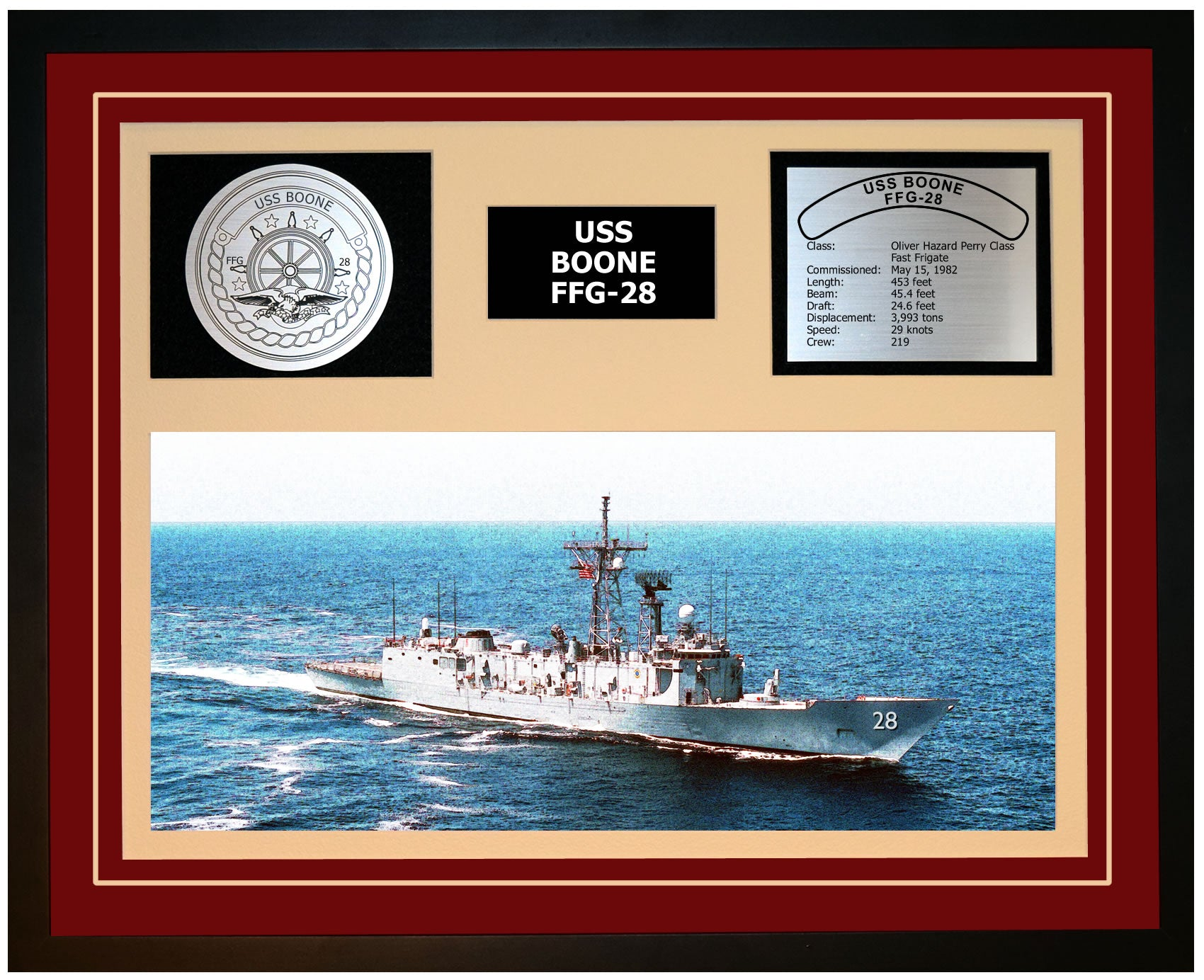 USS BOONE FFG-28 Framed Navy Ship Display Burgundy