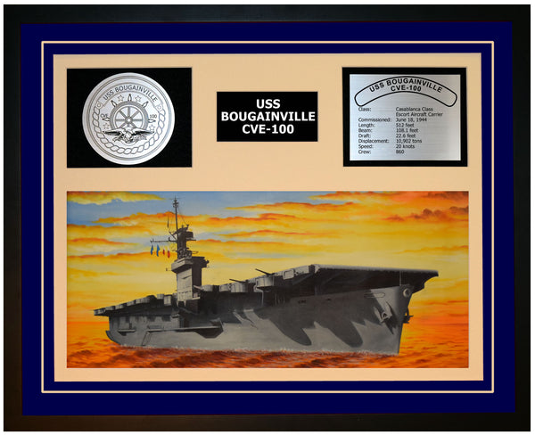 USS BOUGAINVILLE CVE-100 Framed Navy Ship Display Blue