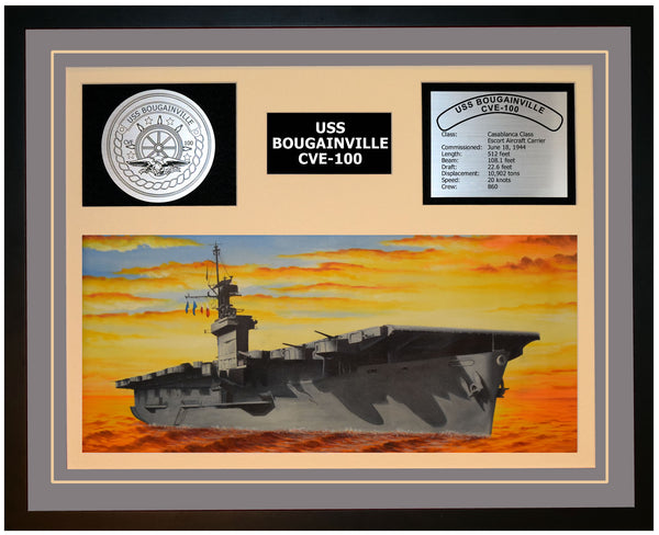 USS BOUGAINVILLE CVE-100 Framed Navy Ship Display Grey