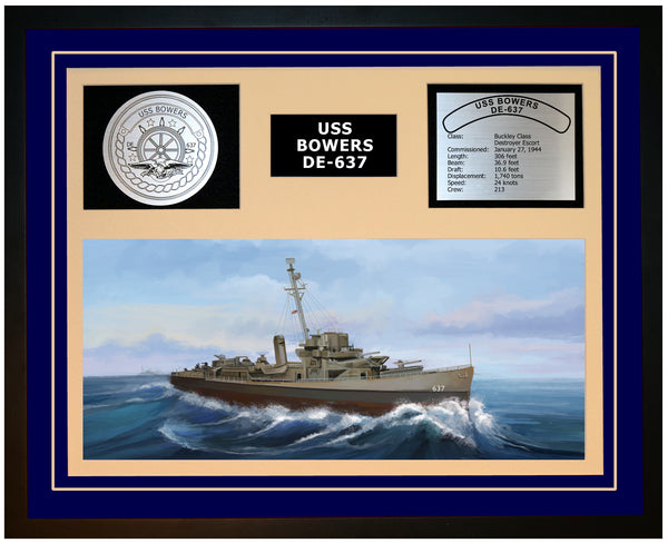 USS BOWERS DE-637 Framed Navy Ship Display Blue