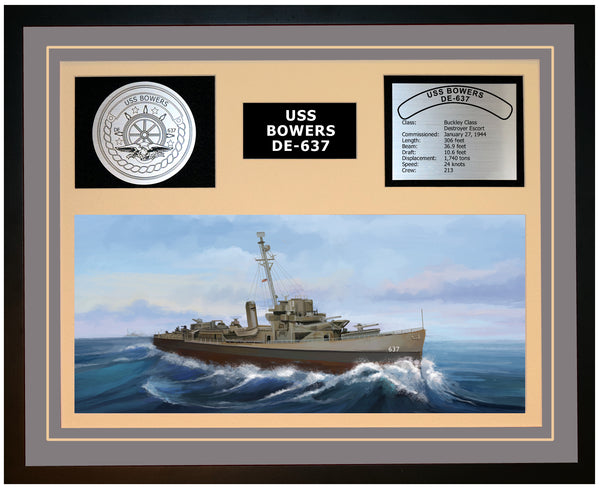 USS BOWERS DE-637 Framed Navy Ship Display Grey