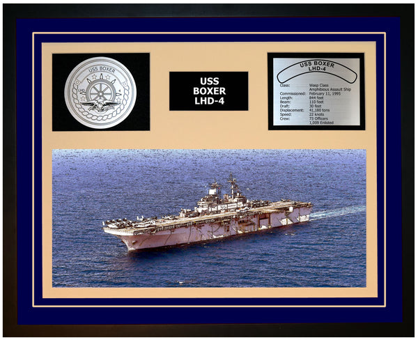 USS BOXER LHD-4 Framed Navy Ship Display Blue