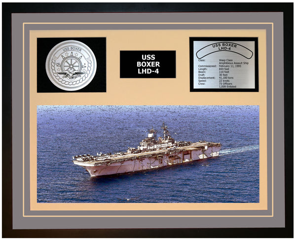 USS BOXER LHD-4 Framed Navy Ship Display Grey