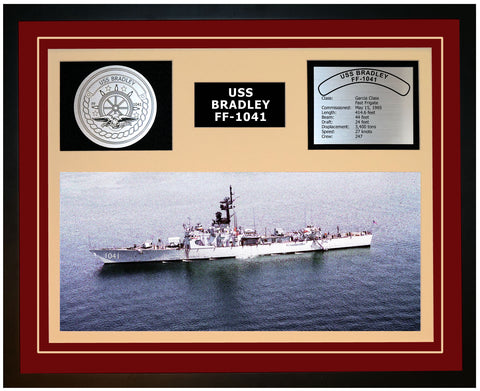 USS BRADLEY FF-1041 Framed Navy Ship Display Burgundy