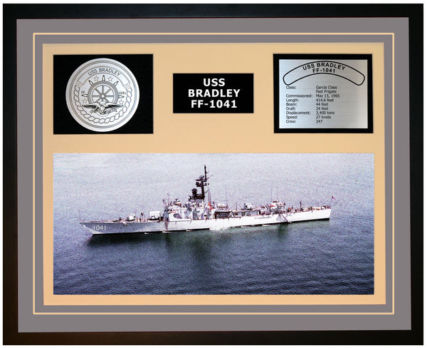 USS BRADLEY FF-1041 Framed Navy Ship Display Grey