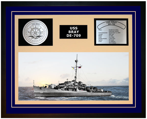 USS BRAY DE-709 Framed Navy Ship Display Blue