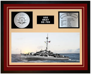 USS BRAY DE-709 Framed Navy Ship Display Burgundy