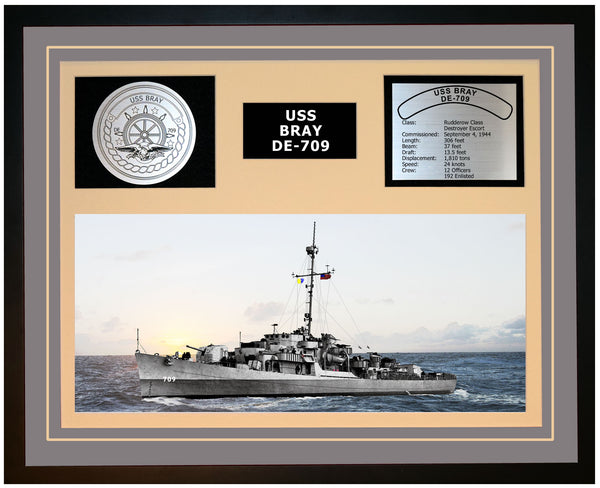 USS BRAY DE-709 Framed Navy Ship Display Grey