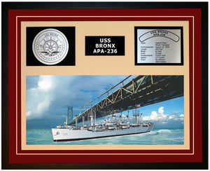 USS BRONX APA-236 Framed Navy Ship Display Burgundy