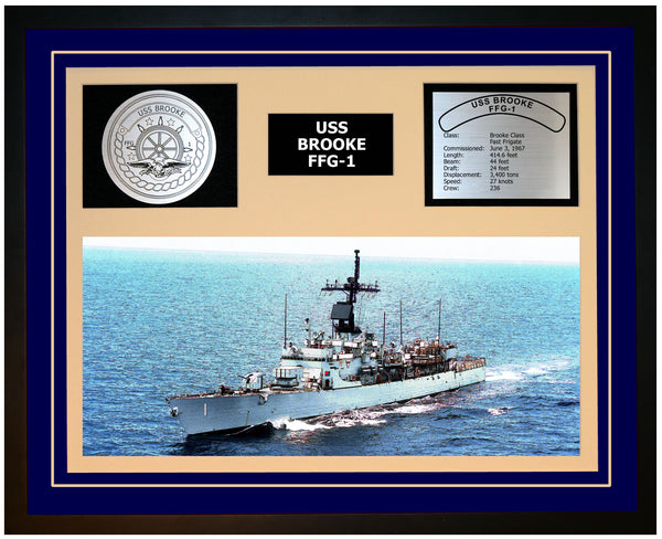 USS BROOKE FFG-1 Framed Navy Ship Display Blue