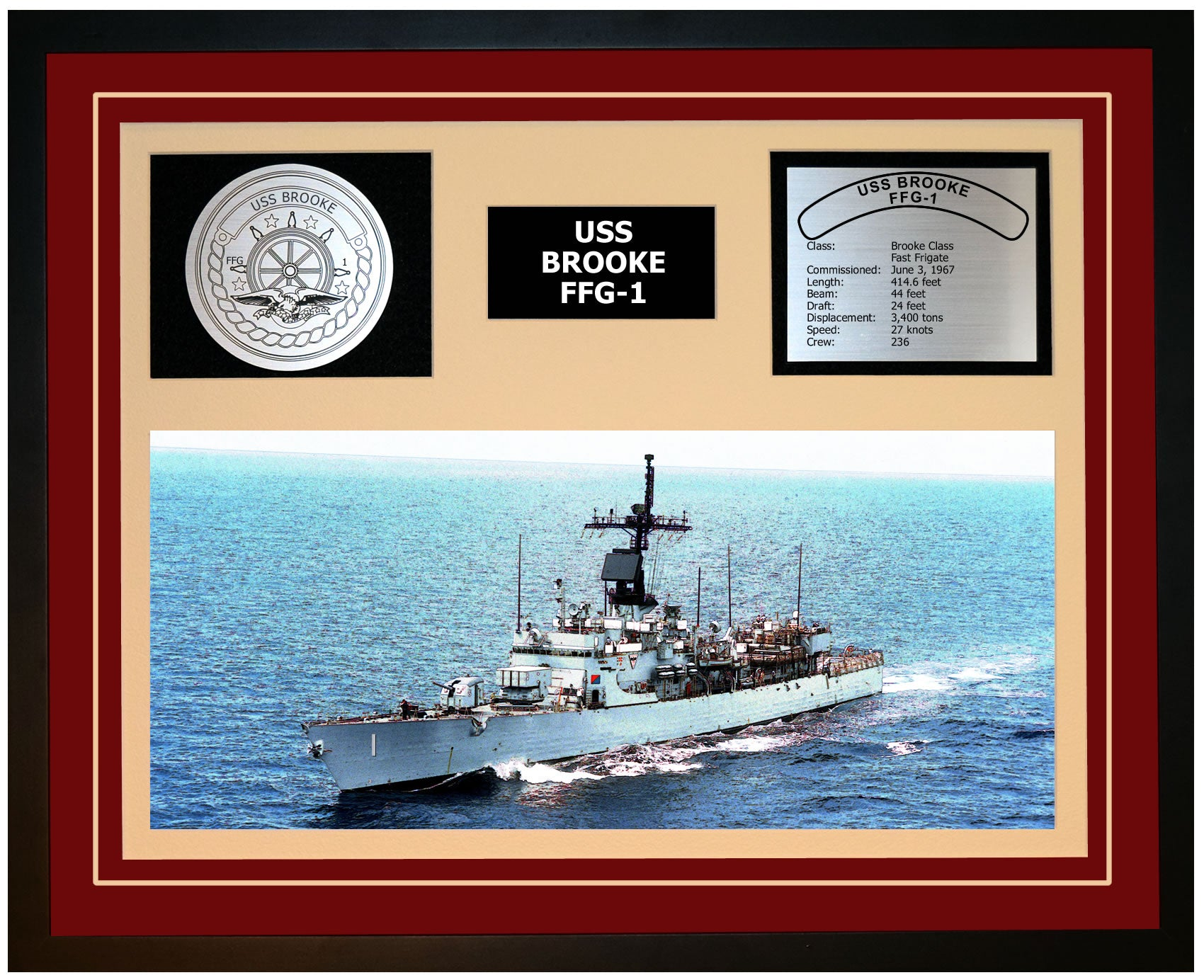 USS BROOKE FFG-1 Framed Navy Ship Display Burgundy