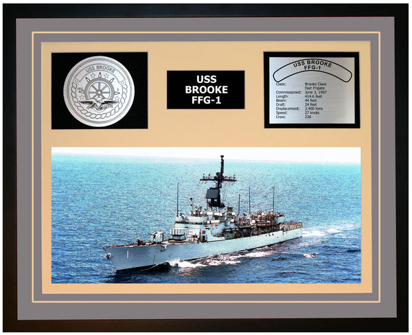 USS BROOKE FFG-1 Framed Navy Ship Display Grey