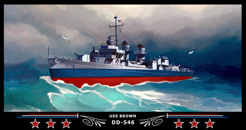 USS Brown DD-546 Art Print