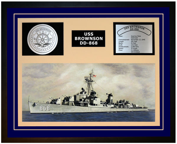 USS BROWNSON DD-868 Framed Navy Ship Display Blue