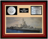USS BUCHANAN DD-484 Framed Navy Ship Display Burgundy
