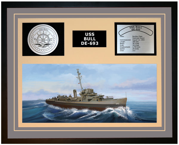 USS BULL DE-693 Framed Navy Ship Display Grey