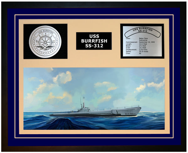 USS BURRFISH SS-312 Framed Navy Ship Display Blue