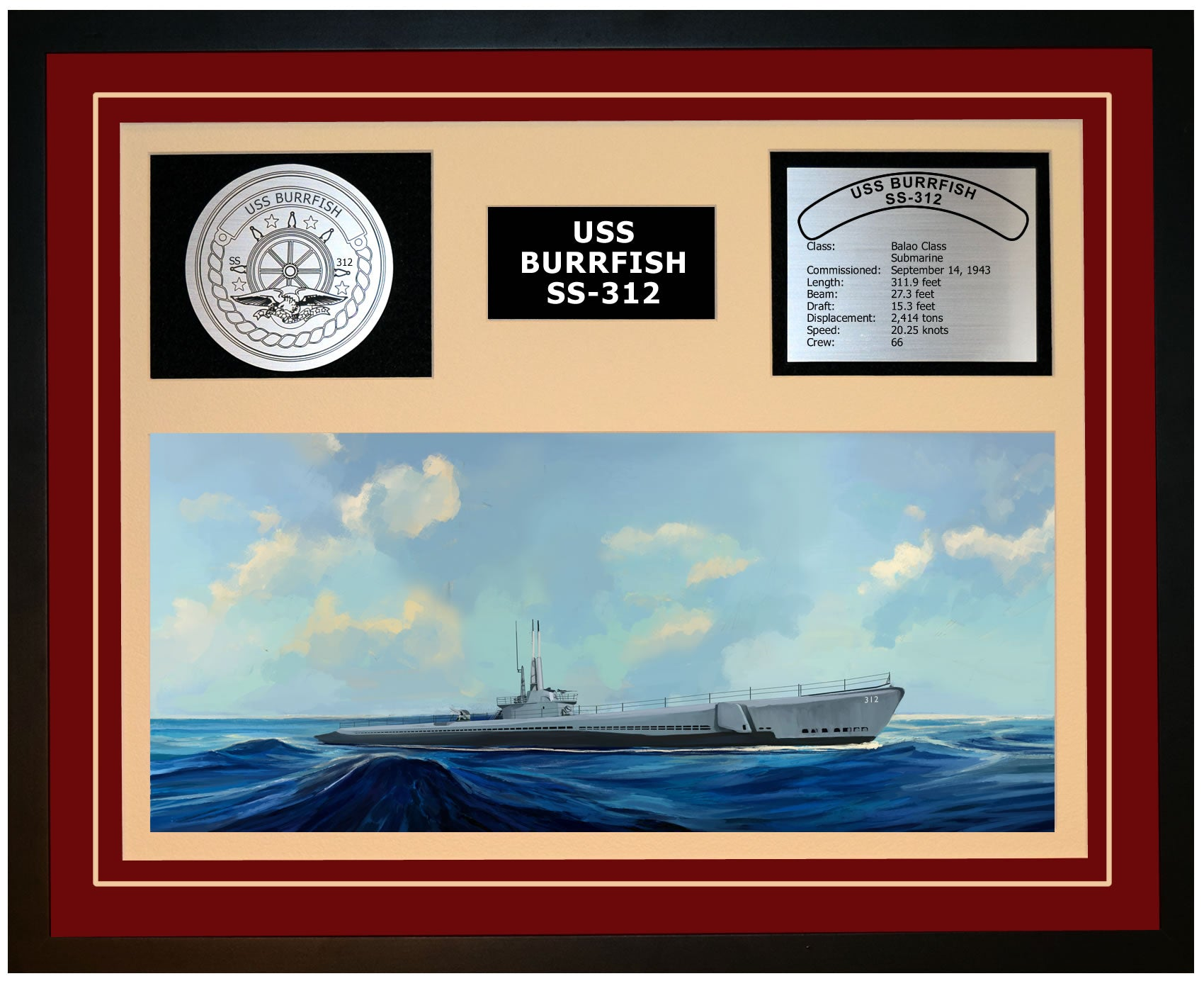 USS BURRFISH SS-312 Framed Navy Ship Display Burgundy