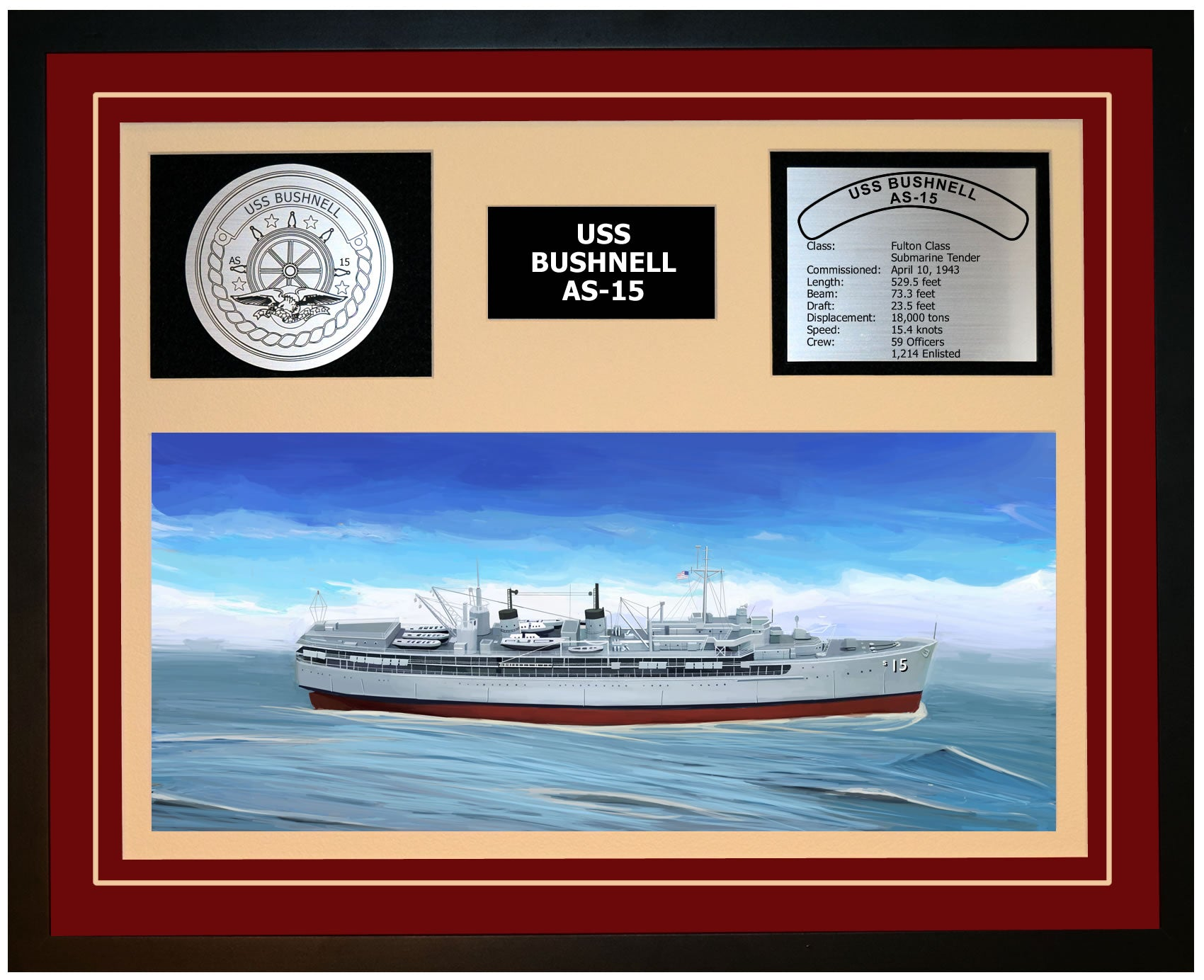 USS BUSHNELL AS-15 Framed Navy Ship Display Burgundy