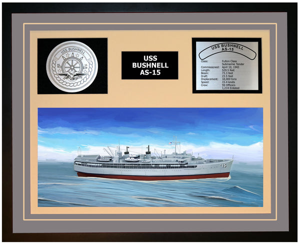 USS BUSHNELL AS-15 Framed Navy Ship Display Grey