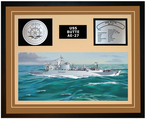 USS BUTTE AE-27 Framed Navy Ship Display Brown