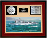 USS BUTTE AE-27 Framed Navy Ship Display Burgundy