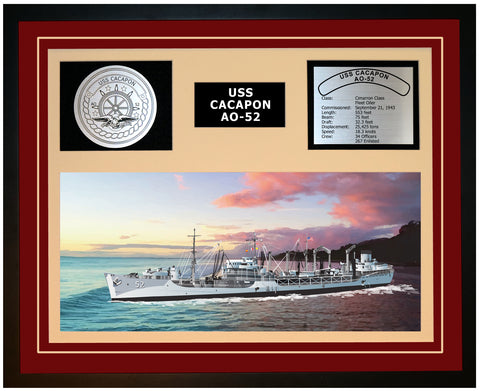 USS CACAPON AO-52 Framed Navy Ship Display Burgundy