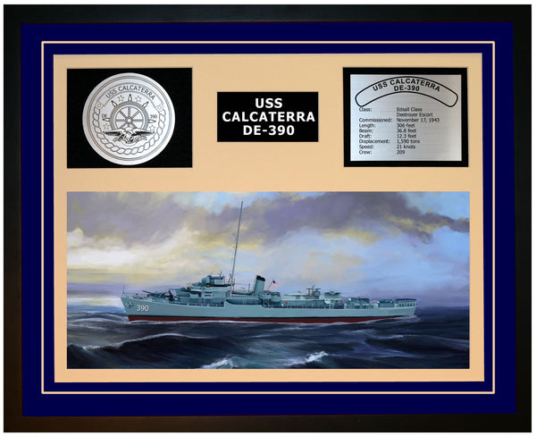 USS CALCATERRA DE-390 Framed Navy Ship Display Blue